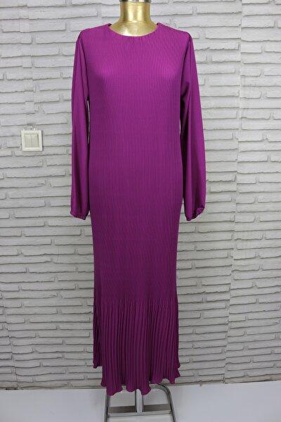 Kadın Mor Pileli  Uzun Elbise