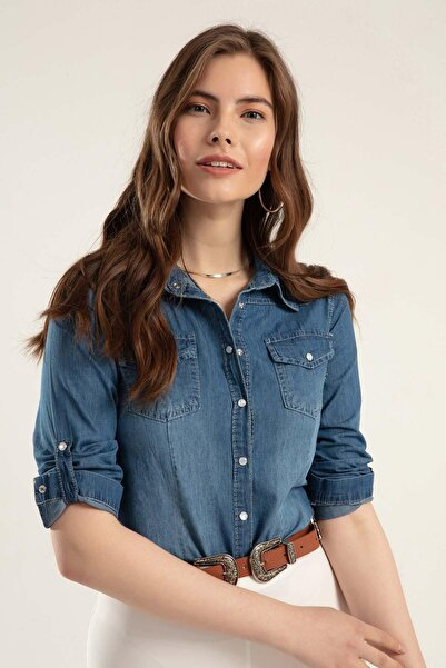 Kadın Basic Kot Gömlek Y20s110-3411