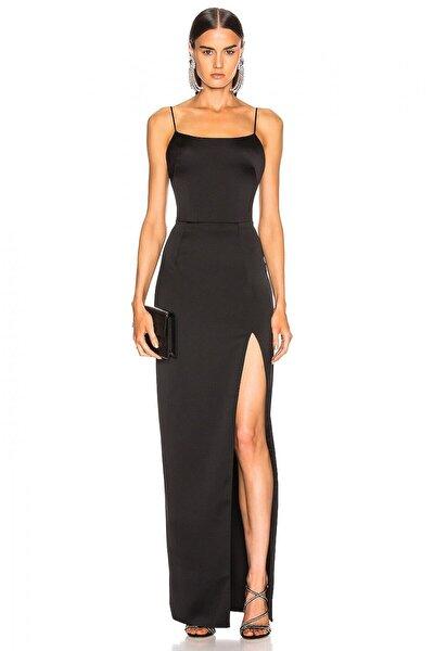 Kadın Siyah Spagetti Askılı Derin Yırtmaçlı Elbise 4573880