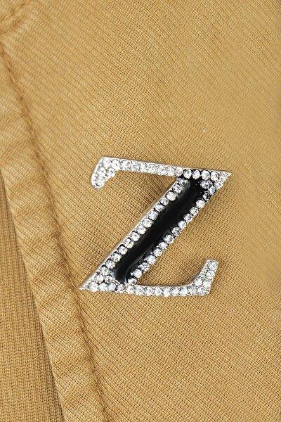 Z Harfli Taşlı Broş