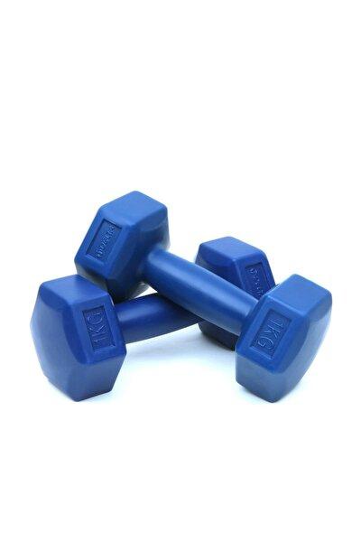 1 Kg x 2 Adet Köşeli Mavi Plastik Dambıl Ağırlık Seti