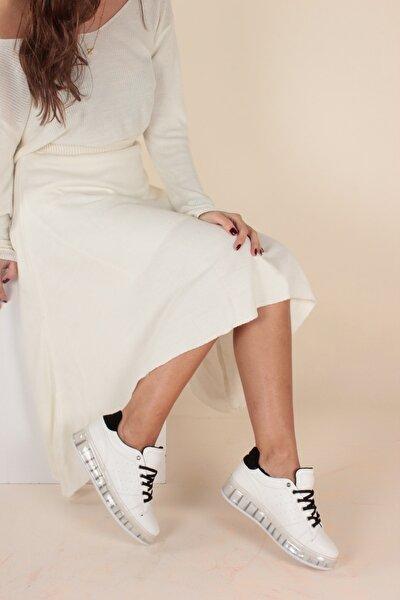 Beyaz Siyah Kadın Yürüyüş Ayakkabısı Y1155