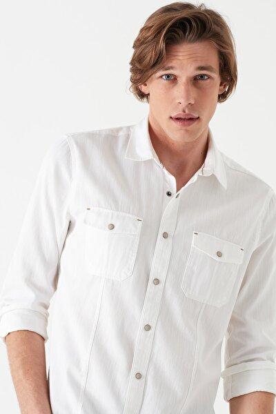 Çift Cepli Beyaz Gömlek