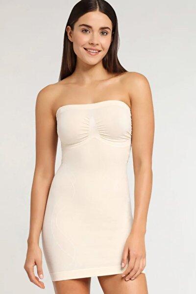 Kadın Dikişsiz Straplez Korse Elbise 5065 Ten