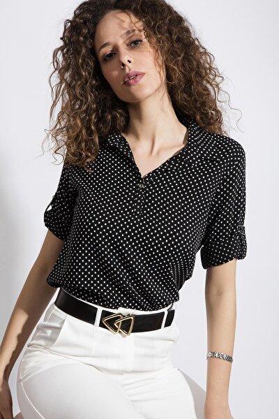 Kadın Puantiyeli Uzun Kollu Gömlek Y20s110-3810