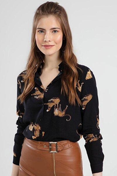 Kadın Çita Baskılı Uzun Kollu Gömlek Y20s110-3815