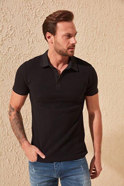 Siyah Erkek Slim Fit Dokulu Polo Yaka T-Shirt TMNSS20PO0002