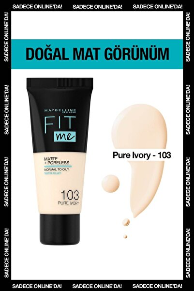 Mat Fondöten - Fit Me Matte + Poreless Foundation 103 Pure Ivory 3600531544782