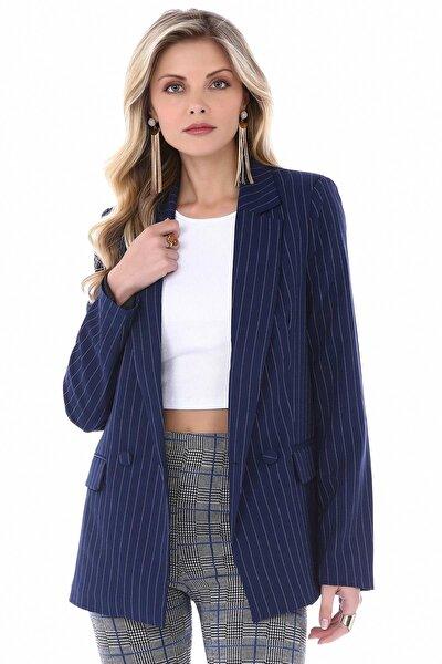 Kadın Lacivert Çizgili Ceket SPR0070