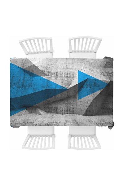 Else Mavi Siyah Iskandinav 3d Baskılı Desenli Dertsiz Masa Örtüsü