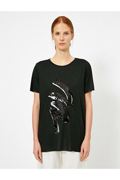 Kadın Siyah Pul Detayli T-shirt 0YAK13267EK