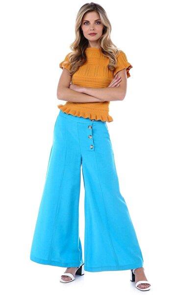 Kadın Mavi Bol Paça Tensel Pantolon SPR0074