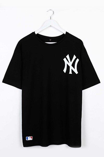 Yankee Baskılı Siyah Oversize Unisex Tshirt