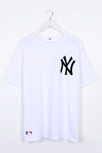 Yankee Baskılı Beyaz Oversize Unisex Tshirt
