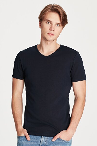 V Yaka Lacivert Basic Tişört