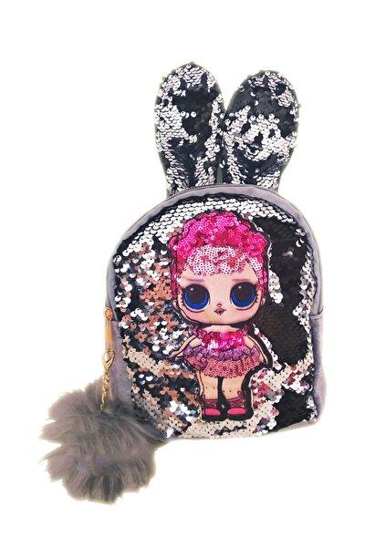 Kulaklı Ponponlu Payetli Işıklı Lol Çanta- Lol Bebek Günlük Gri Sırt Çantası
