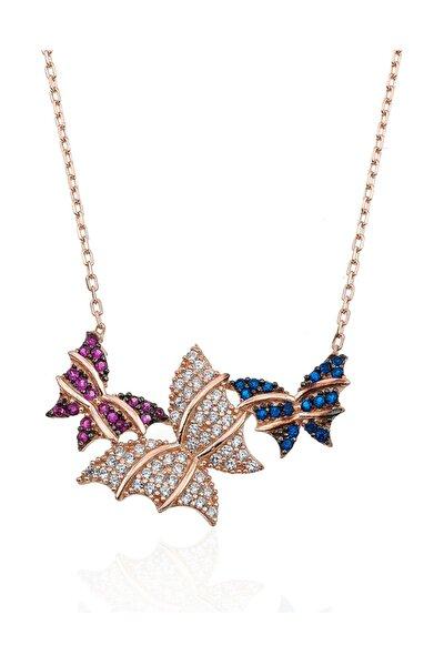 Renkli Kelebekler Gümüş Kolye