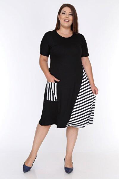 Kadın Siyah Beyaz Cep Detaylı Viskon Elbise