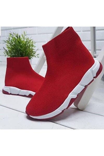 Unisex Kırmızı Çoraplı Kırmızı Beyaz Taban Sneakers Ayakkabı