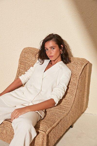 Beyaz Keten Görünümlü Pamuklu Basic Blazer Ceket TWOSS20CE0163
