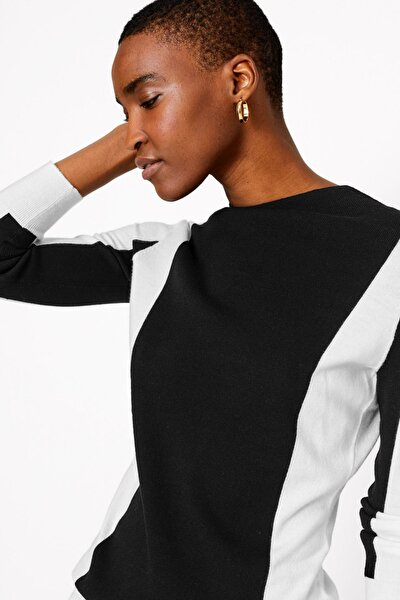 Kadın Siyah Renk Bloklu Kazak T53005102T