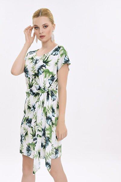 Kadın Beyaz Yaprak Desenli Yandan Bağlamalı Elbise HN2029