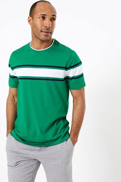 Erkek Yeşil Supima® Çizgili Kısa Kollu T-Shirt T28006282B