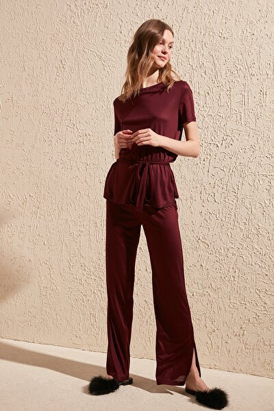 Bordo Bağlama Detaylı Örme Pijama Takımı THMSS20PT0025