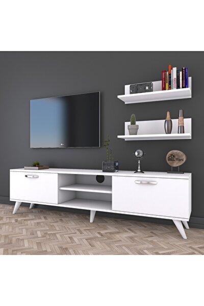 A7 Duvar Raflı Tv Sehpası - Kitaplıklı Tv Ünitesi Modern Ayaklı Tasarım Beyaz