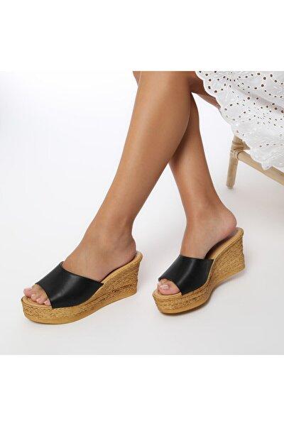 315398.z Siyah Kadın Dolgu Topuklu Terlik