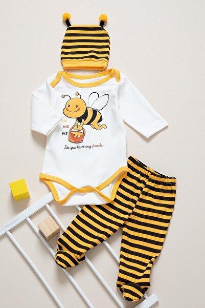 Unisex Bebek Sarı Arılı 3 Lü Zıbın Takımı