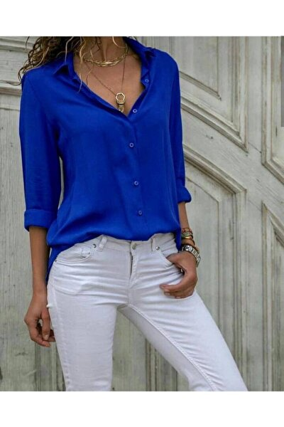 Düz Renk Dokuma Viskon Kumaş Efsane Basic Gömlek Saks Mavi