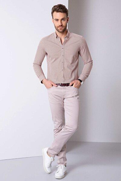 Erkek Bej Slim Fit Chino Pantolon