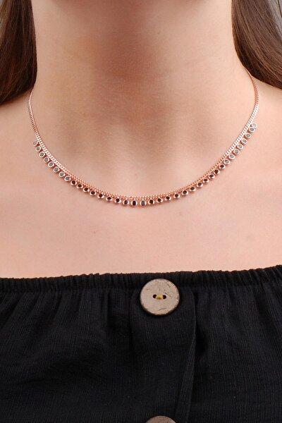 Rose Gümüş Choker Kolye 6571