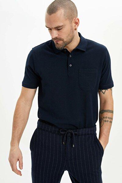 Erkek Lacivert Relax Fit Basic Polo T-Shirt