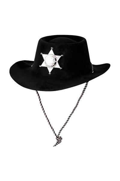 Çocuk Siyah Renk Plastik Üzeri Kadife Kaplama Kovboy Şapkası