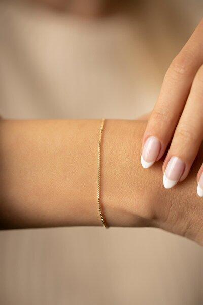 Zincir Model Altın Kaplama Gümüş Italyan Bileklik