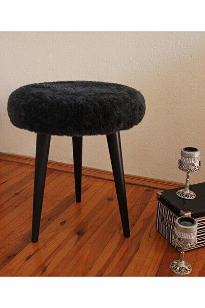 Ahşap Ayak Dekoratif Antrasit Siyah Pelüş Puf Tabure Bench Yuvarlak Koltuk Sandalye