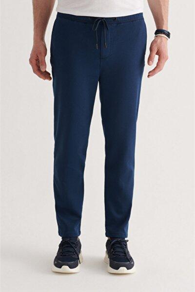 Erkek Indigo Yandan Cepli Beli Lastikli Kordonlu Düz Relaxed Fit Örme Pantolon A11y3017