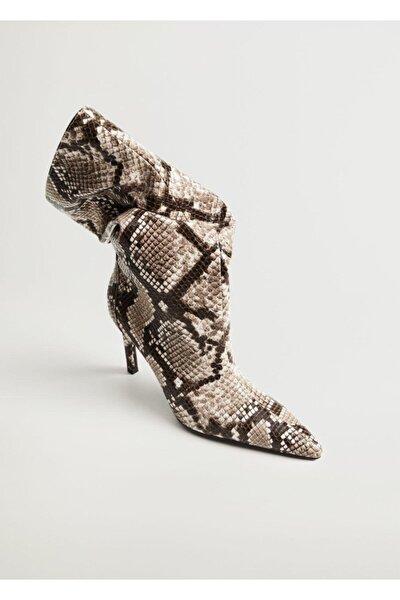 Kadın Kahverengi Yılan Derisi Desenli Topuklu Bot