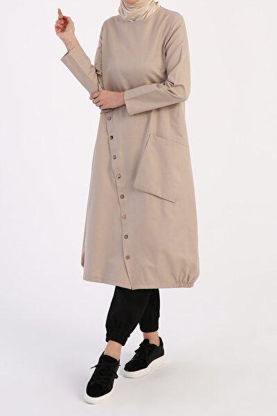 Kadın Taş Düğme Detaylı Tunik
