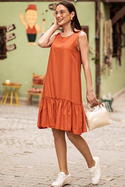 Kadın Kiremit Kolsuz Eteği Fırfırlı Elbise ARM-18Y001156