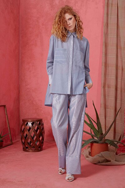Kadın Bol Paça Mavi Pantolon M19Y1Q0541TKL