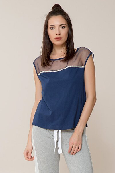 Kadın Lacivert Spor Bluz M18Y2W02513BD