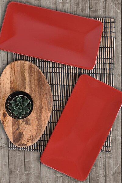 Kırmızı Siera Kayık Tabak 33 Cm 2 Adet