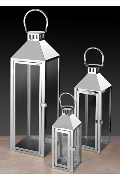 Ferforje 3'lü Kubbeli Fener Mumluk Seti Gümüş