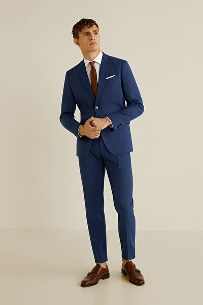 Erkek Mavi Dar Kesim Kumaş Pantolon 43010494