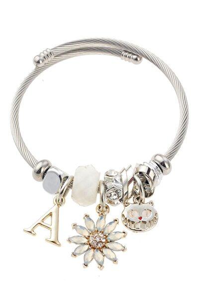 Krem Çiçek Kedi Figürlü Silver Bileklik