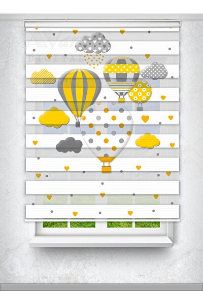 Uçan Balon Baskılı Perde - Çocuk Odası Perdesi - Hot Air Balloon - Baskılı Zebra Perde
