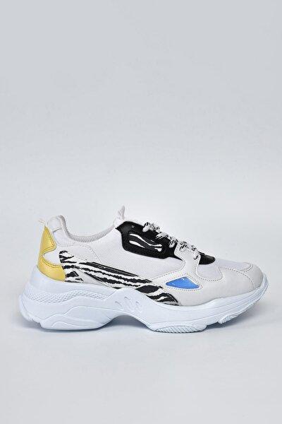 Beyaz Leopar Kadın Spor Ayakkabı 9Y2SAJ0053